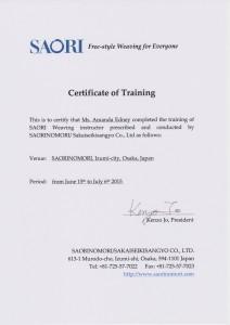 Saori certificate of Training